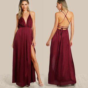 SHEIN Crisscross Backless High Slit Satin Dress